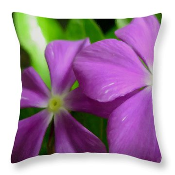 Purple Periwinkle Flower Throw Pillow by Lanjee Chee