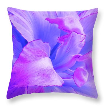 Purple Petals Abstract Throw Pillow by Gill Billington