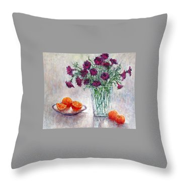 Purple Petunias And Oranges Throw Pillow by Jill Musser