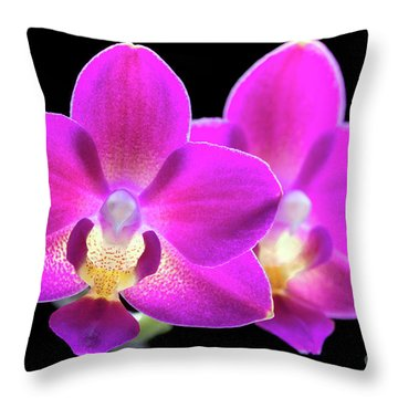 Throw Pillow featuring the photograph Purple Phalaenopsis #0855 by David Perry Lawrence