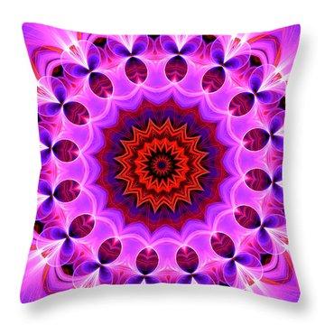 Purple, Pink And Orange Kaleidoscope Throw Pillow