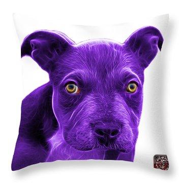 Purple Pitbull Puppy Pop Art - 7085 Wb Throw Pillow by James Ahn