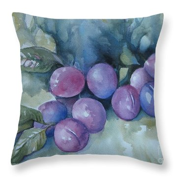 Throw Pillow featuring the painting Purple Plums by Elena Oleniuc