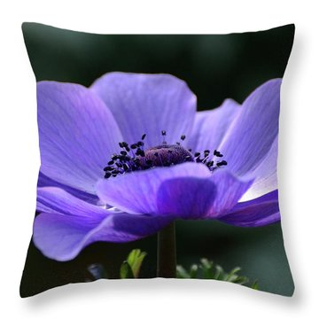 Purple Poppy Mona Lisa Throw Pillow