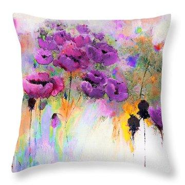 Purple Poppy Passion Painting Throw Pillow