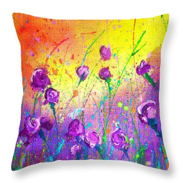 Purple Posies Throw Pillow
