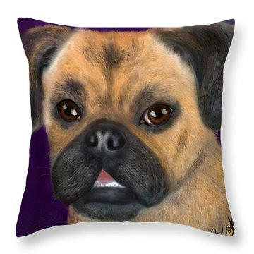 Purple Pug Portrait Throw Pillow