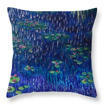 Purple Rain On Water Lilies Throw Pillow
