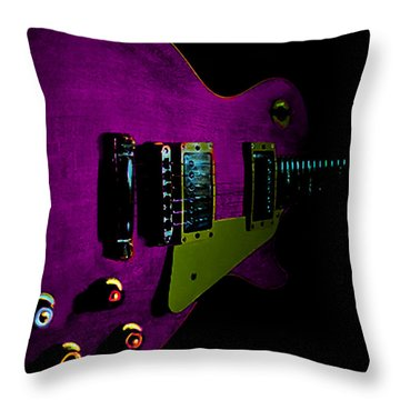 Purple Relic Les Paul II Hover Series Throw Pillow