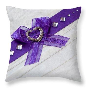 Purple Ribbon Heart Throw Pillow