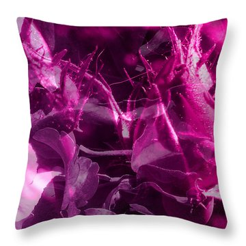 Purple Rose And Pansy Throw Pillow by Ruth Palmer