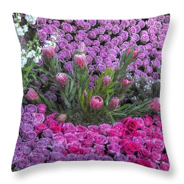 Purple Roses, Pinks And White Throw Pillow