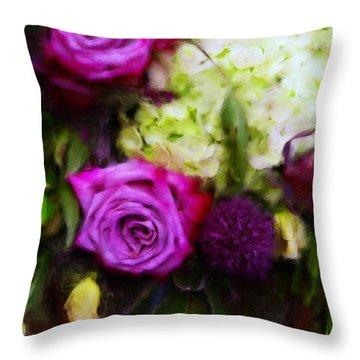 Purple Roses With Hydrangea Throw Pillow