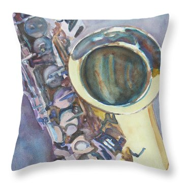 Purple Sax Throw Pillow by Jenny Armitage