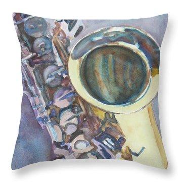 Purple Sax Throw Pillow
