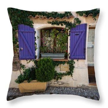 Purple Shutters Throw Pillow