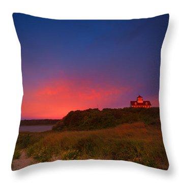 Purple Sky Over Coast Guard Eastham Throw Pillow by Dapixara Art