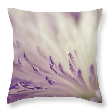 Purple Spider Mum Macro Throw Pillow