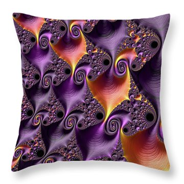 Purple Spirals Throw Pillow by Rajiv Chopra
