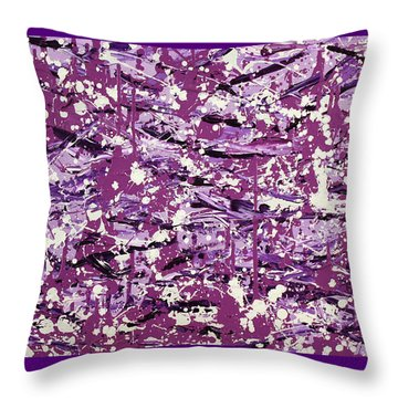 Purple Splatter Throw Pillow by Thomas Blood