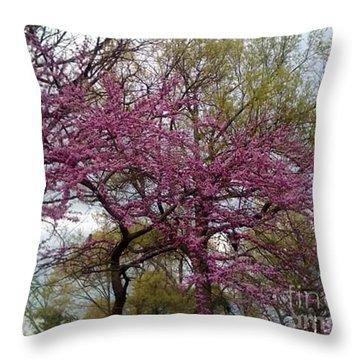 Purple Spring Trees Throw Pillow