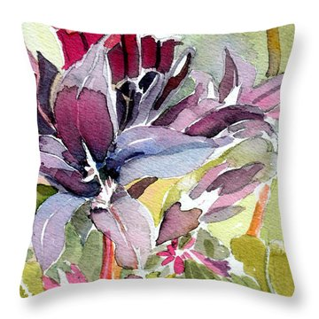 Purple Stem Aster Throw Pillow by Mindy Newman