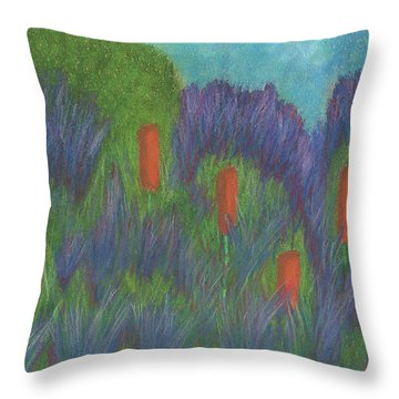 Purple Strife And Cattails Throw Pillow