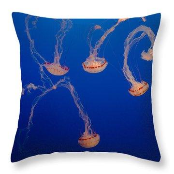 Purple Striped Jellies Throw Pillow