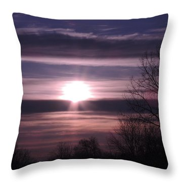 Purple Sunrise Throw Pillow by Teresa Schomig