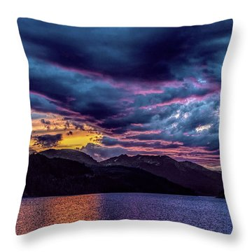 Purple Sunset At Summit Cove Throw Pillow