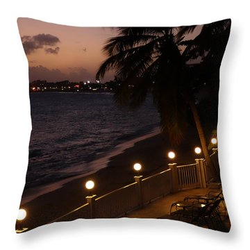 Purple Sunset In Saint Martin Throw Pillow