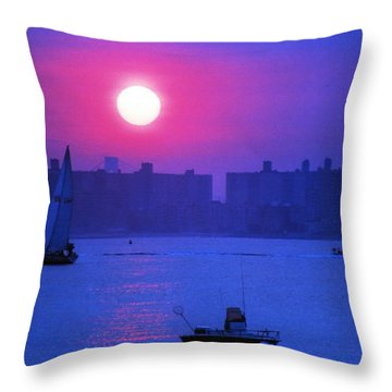 Throw Pillow featuring the photograph Purple Sunset Off Breezy Point Bayside by Maureen E Ritter