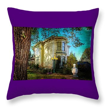 House With The Purple Swing Throw Pillow
