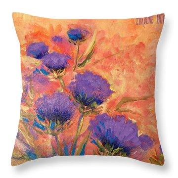 Purple Thistles Throw Pillow