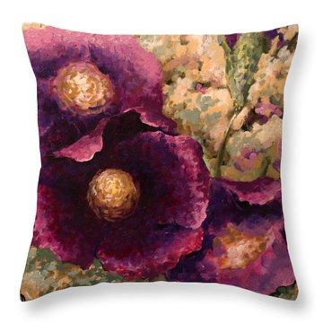Purple Trio-flowers Throw Pillow by Vali Irina Ciobanu