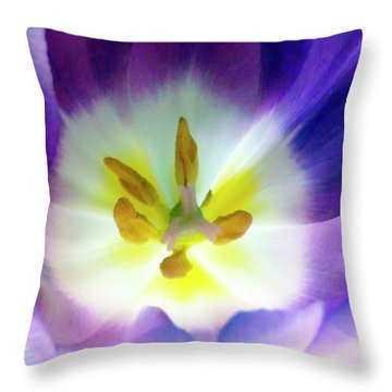 Purple Tulip Macro Throw Pillow