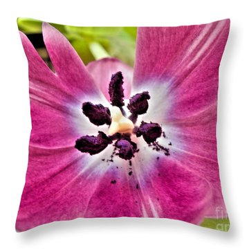 Purple Tulip Throw Pillow by Nina Ficur Feenan