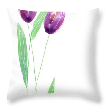 Purple Tulips Throw Pillow by Arline Wagner