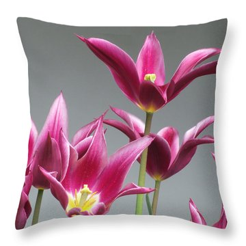 Purple Tulips Throw Pillow by Helen Northcott