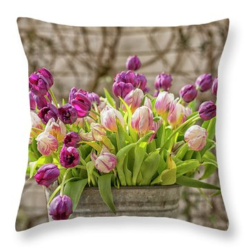 Throw Pillow featuring the photograph Purple Tulips In A Bucket by Patricia Hofmeester