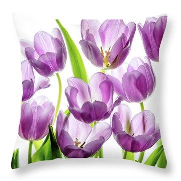 Throw Pillow featuring the photograph Purple Tulips by Rebecca Cozart