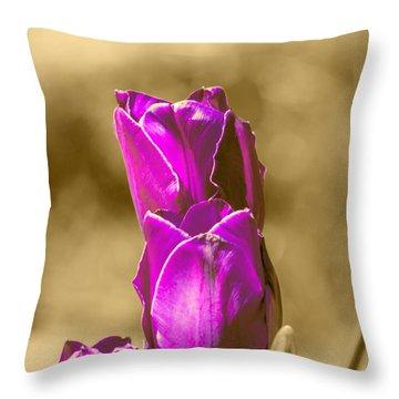 Purple Tulips Sepia Background Throw Pillow