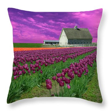 Purple Tulips With Pink Sky Throw Pillow