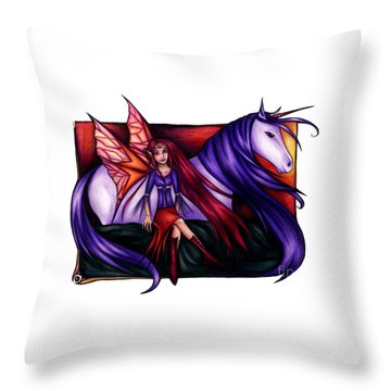 Purple Unicorn With Fairy Friend Throw Pillow