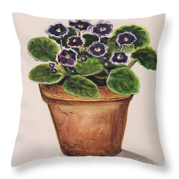 Purple Violets Throw Pillow