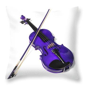 Purple Violin Throw Pillow