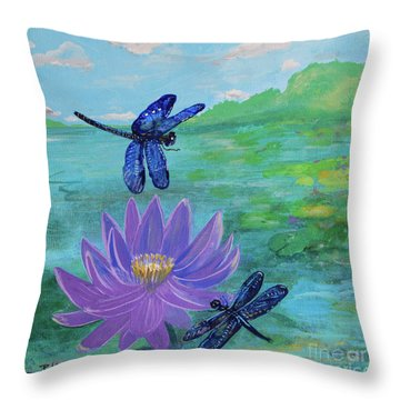 Purple Water Lily And Dragonflies Throw Pillow