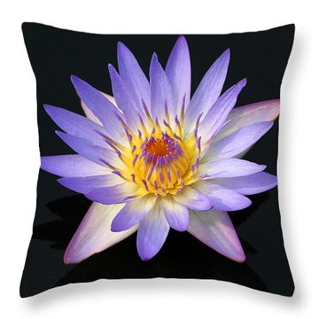 Purple Water Lily In A Pond Maui Hawaii Throw Pillow