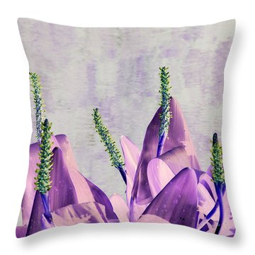 Purple Water Plant Throw Pillow