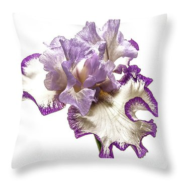 Purple White Iris Throw Pillow